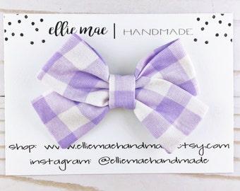 Baby, Toddler, Girls Fabric Bow Headband or Hair Clip  -  Purple Gingham, Spring Bow Headband, Nylon Bow Headband