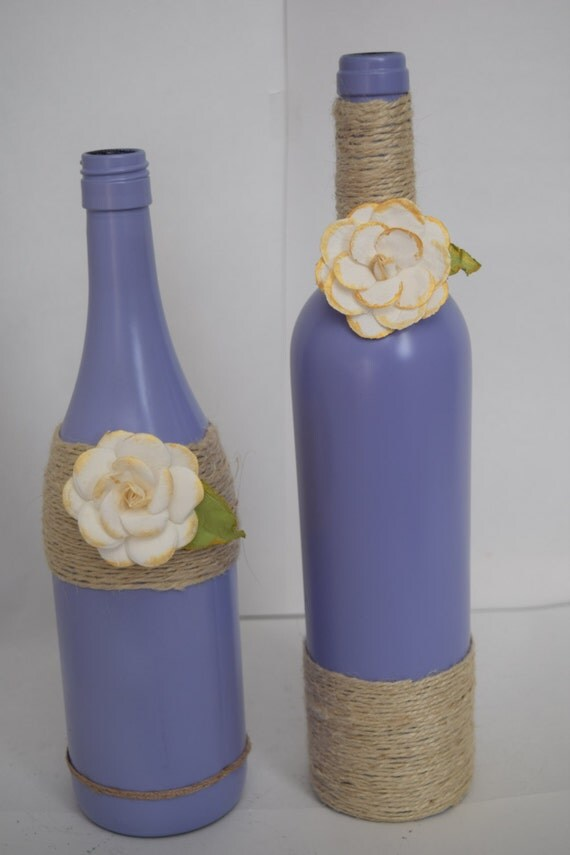 Decorative wine bottles home decor purple by rusticchicbytanya Wine shop decoration