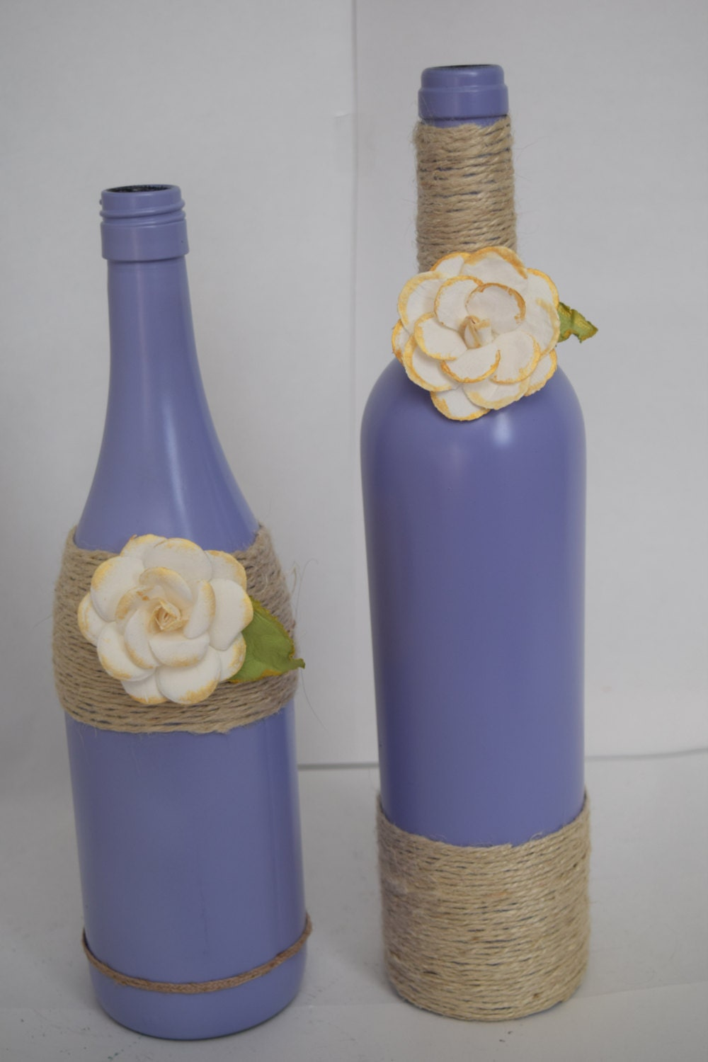 Decorative wine bottles home decor purple by rusticchicbytanya for Decorative vials