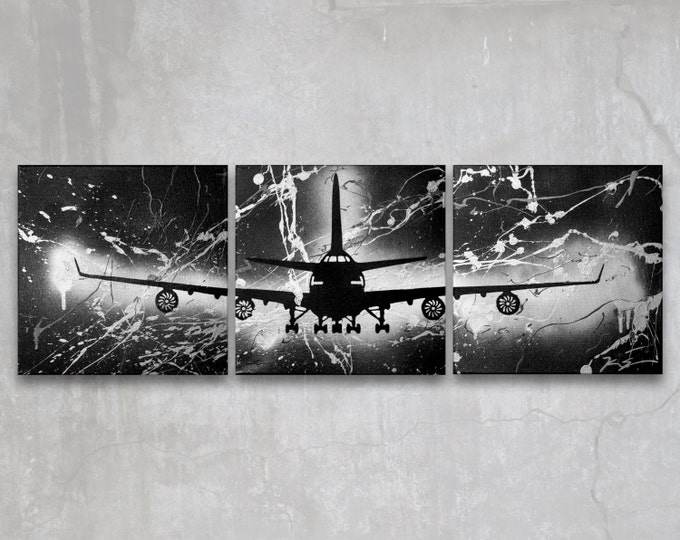 boeing 747 // custom original painting // modern triptych // airplane art // metallic large wall art // plane painting silhouette