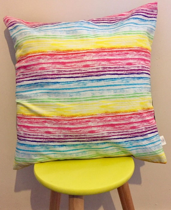 Rainbow multicoloured cushion cover, pink, purple, yellow and yellow