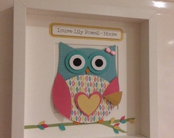 kids bedroom decor - 3D owl picture - owl wall art - owl nursery decor - personalised new baby gift - christening gift - bright owl art