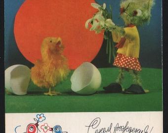 Happy Birthday! - Bunny congratulates chick. Vintage foto postcard USSR Postal Stationery 1971