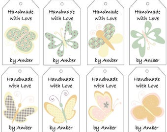 Yellow, Orange, and Green Butterflies Gift Tags- PDF File