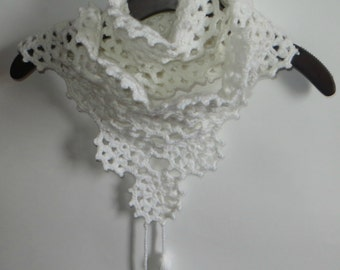 crochet scarf in white flower motifs,exclusive desing,