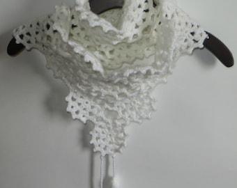 crochet scarf in white flower motifs,exclusive desing,