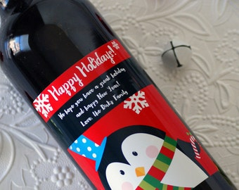 Holiday Wine Label, Personalized Christmas Label, Christmas Gift, Christmas Wine Label, Holiday Label, Custom Wine Label, Wine, Christmas