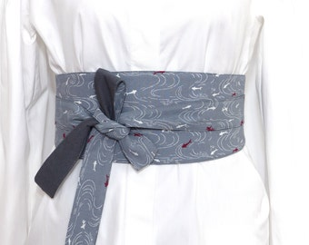 Reversible Obi Belt, Wide wrap belt, Waist belt