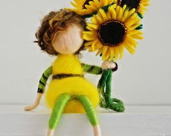 Waldorf inspired needle felted Flower-child (sunflower boy)