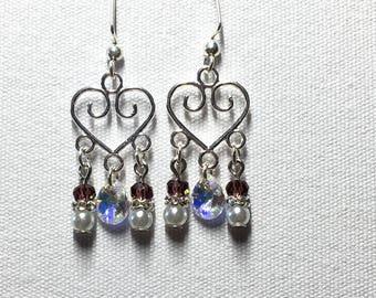 Heart chandelier earrings with crystal AB Swarovski crystal charm
