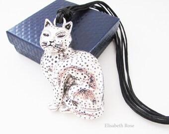 Large Cat Pendant Necklace, Cat Pendant on Long Black Cord, Large Silver Cat Pendant, Cat Necklace, Cat Pendant Necklace, Cat Jewellery