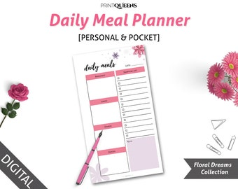 Daily Meal Planner, Meal Planner and Shopping List Printable, Menu Planner and Shopping List Insert, Personal Planner, Pocket Planner