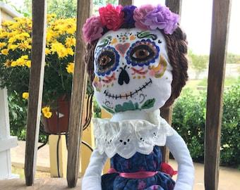 Brunette Day of the Dead Art Doll