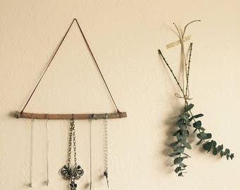 Leather and wood necklace hanger