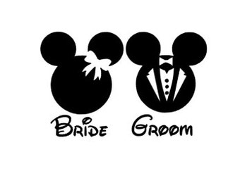 DISNEY BRIDE & GROOM- Quality Vinyl Decal; Bridal; Yeti Decal, Tumbler Decal, Gifts for Brides, Bridal Party Gifts, Fast Processing!