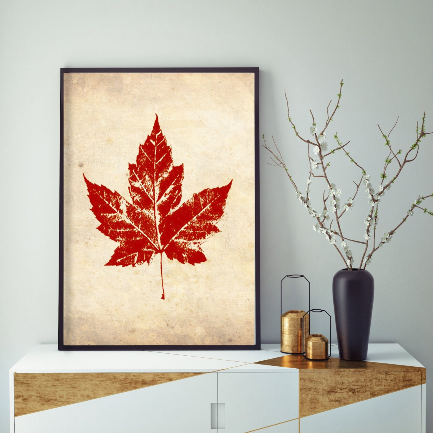 Wall Art Red Leaves : Vintage red maple leaf wall decor fall