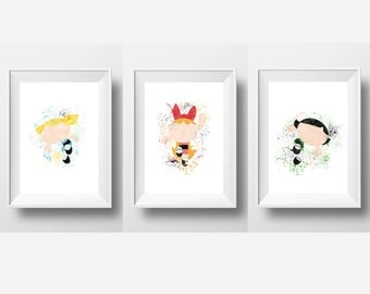Powerpuff Girls Set of 3, Bubbles, Blossom, Buttercup *Instant Download*