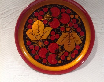 """Khokhloma"" wooden lacquer - wall decor - souvenir plate / / made in Russia"