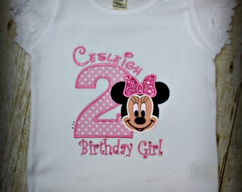Minnie Mouse birthday shirt - Any number can be added