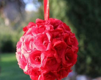 Red flower ball, kissing ball, Paper flowers, Wedding flower ball, flower girls, Wedding decor, Centerpiece, Rose ball, Wedding pomander