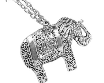 Silver Elephant Necklace, Beautiful and Elegant - Long Chain