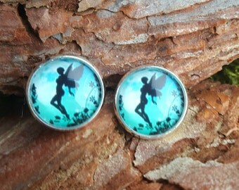 Beautiful Elves earrings in turquoise and black 12mm ear plug earrings