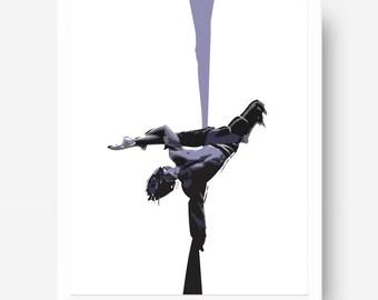 Aerial Silks Art Printable - Circus Illustration - Aerial cirque - Aerial silks ink art