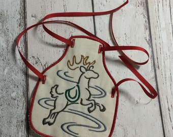 Wine Bottle Apron - Reindeer - Quirky Gift - Christmas