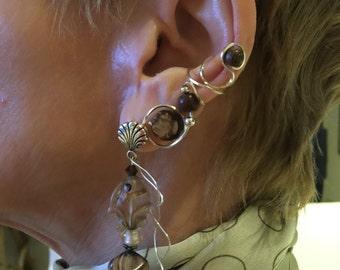 Silver Wire-Wrapped Glass Earrings ad Earring Cuffs
