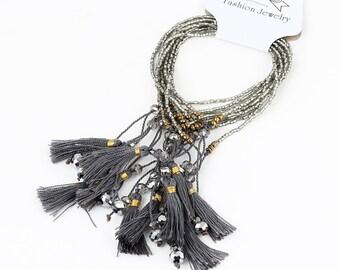 New style silver Beaded Bracelet, Tassel Bracelet, charm Bracelet,