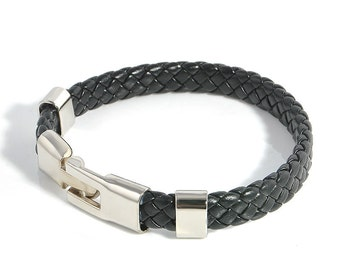 Black braided leather bracelet, Mens black leather bangle, Stainless steel closure, Stainless steel bracelet, Nice cheap jewelry