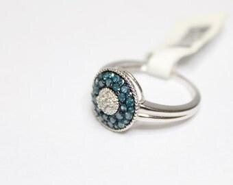 10k White Gold .50ctw Round Blue and White Diamond Ring Size 7