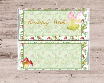 Fairy Birthday Wishes Chocolate Bar Wrapper-Fairy Birthday Wishes Candy Bar Wrapper-Chocolate Bar Wrapper-Candy Bar Wrapper-Birthday Gift