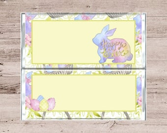 Multicolored Easter Bunny Chocolate Bar Wrapper-Pastel Colored Candy Bar Wrapper-Easter Candy Bar Wrapper-Bunny and Eggs Chocolate Bar