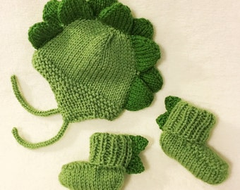 Baby Dino Hat and Booties Set