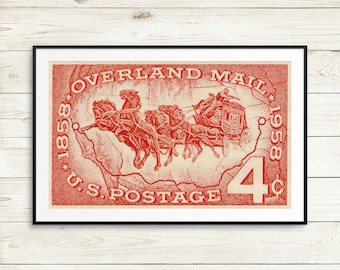 postal retirement gift ideas, old west art prints, US history wall decor, Overland Mail poster, wall art, unique moving announcement cards