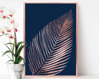 Rose Gold Tropical Leaf Print, Printable Decor Above Bed, Rose Gold Livingroom Decor, Tropical Print, Tropical Decor Print, Trending Now Art
