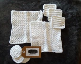 100% white cotton handmade crochet  washcloths and scrubbies set