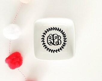Monogrammed Ring or Trinket Dish with Laurel Wreath // Wedding Gift // Bride // Bridesmaid