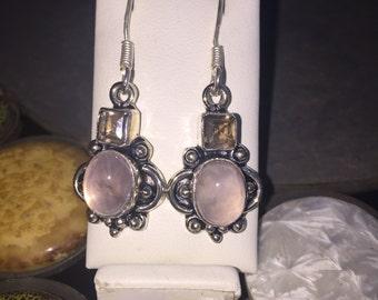 Rose and smoky quartz earrings