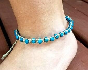 hemp anklet, hemp jewelry, hippie gifts, hippie ankle bracelet, gypsy bracelet, boho bracelet, beach anklet, hippie jewelry, turquoise