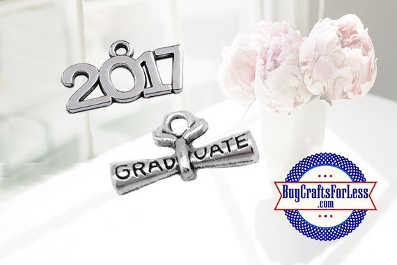 GRADUATION Charms, Charms for GRADUATION - 2 pcs, One of each style +Discounts & FREE Shipping*