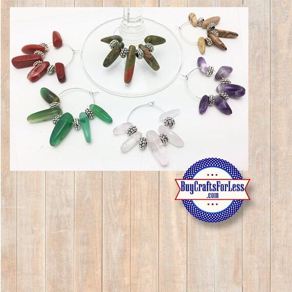 Gemstone Wine or Bottle Charms, Napkin Rings, Set of 6  **FREE U.S. SHIPPING**