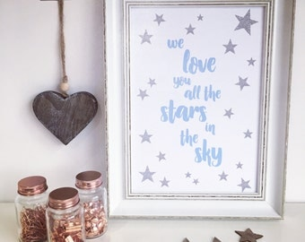 We love you all the stars in the sky, Boy, Blue nursery print, A4, Home decor