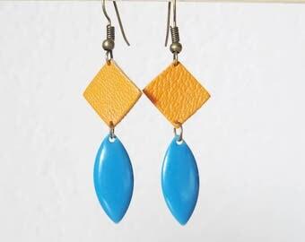 LEATHER mustard and blue enamel earrings