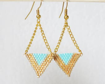 Earrings TRIANGLE weaving handmade gold and turquoise beads