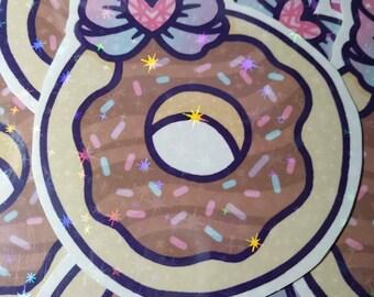 Sparkly Holographic Donut Vinyl Sticker