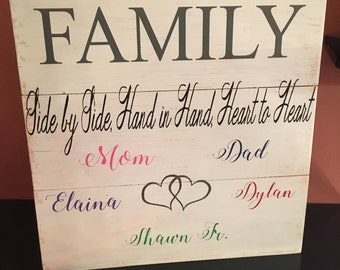 Family sign, personalized sign