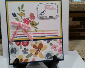 Painted Floral Birthday Card