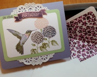 Hummingbird birthday card with lined envelope